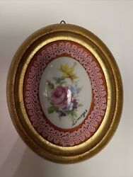 Vintage Wall Decor Limoges Oval Ceramic Floral Plaque Wood Frame $12.60