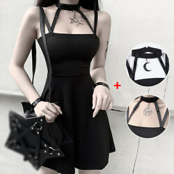Women Gothic Black Dress Outfits Sexy Party Lolita Costume Slim Dresses Clothes