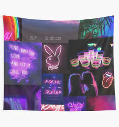 Neon Collage Aesthetic Wall Tapestry Neon Playboy Purple Wall Tapestry $18.71