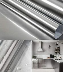 Stainless Steel Silver Contact Paper Vinyl Self Adhesive Film Kitchen Countertop $17.60