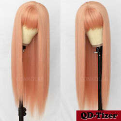 Long Curly Synthetic No Lace Wigs Heat Resistant Baby Hair Natural Black Women $19.90