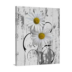 Yellow Gray Daisy Flowers Modern Rustic Bedroom Bathroom Canvas Wall Art Picture $69.99