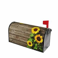 Autumn Sunflowers Wood Pattern Mailbox Covers Magnetic Post Box Cover Wraps Stan $22.52