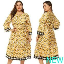 Oversized Casual Floral Cocktail Plus Size Dress O Neck Long Sleeve Evening $19.11
