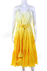 Rhode Womens Cotton Ombre Lea Maxi Dress Yellow Size Large $140.24