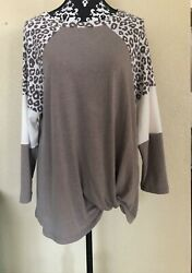 French Terry Casual Long Sleeve Top $20.00