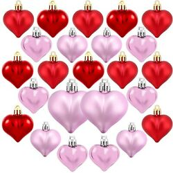 24PCS Heart Shaped Baubles Heart Valentine#x27;s Day Ornament Hanging DIY Decoration $14.99