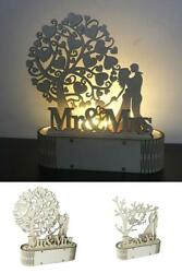 LED Light Wooden Wedding Ornaments DIY Mr Mrs Rustic Wedding Party Decoration On $10.99