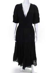 Rhode Womens Puff Sleeve Tiered Gina Dress Black Size Medium $162.24