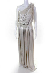 Retrofete Womens Cut Out Pleated Andrea Maxi Dress Champagne White Size Large $201.24