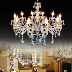 Samger 10 Arms K9 Crystal Chandelier Glass Ceiling Light Pendant Lamp Cognac E12 $104.40