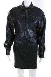 Ronny Kobo Womens Faux Leather Button Down Skirt Suit Black Size Small $49.99