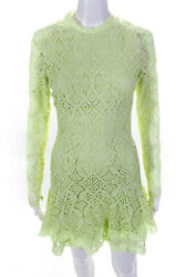Jonathan Simkhai Womens Guipure Lace Long Sleeve Mini Dress Pear Green Size 0 $273.24