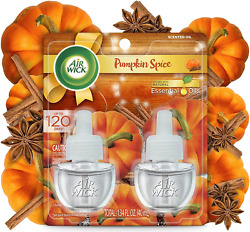 Air Wick Plug in Scented Oil 2 Refills Pumpkin Spice Fall scent Fall spray $8.04