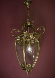 SOLID LARGE BRONZE LANTERN SOLID CEILING LAMP FIXTURES CHANDELIER CUT GLASS $755.00