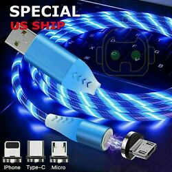 Magnetic LED Light Up USB Phone light up Charger Cord For iPhone Type C Micro US $4.49