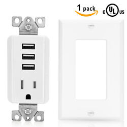 SenQ UL USB Outlet Multi Port Receptacle Charger Plug Wall Plate Sockets Outlets $12.95
