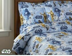 Pottery Barn Kids STAR WARS 4 Pc FULL QUEEN Sheet Set Flat Fitted 2 Pillowcases $59.00