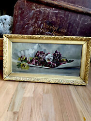 Pretty Victorian Antique Oil Painting PANSIES Flowers Gorgeous Gesso Frame $165.00