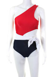 Beach Riot Womens Cut Out Tie Carlie One Piece Red White Blue Size XS $49.24
