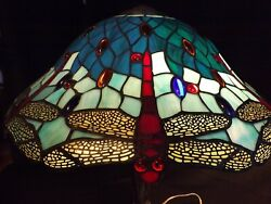 Antique Reproduction Tiffany Style Dragon Fly Lamp Shade Blue Stained Glass 20quot; $149.00