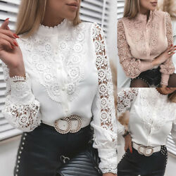 Women Hollow Lace Long Sleeve Tops Button Down Blouse Office Tunic T Shirt Tee $10.99