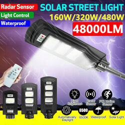 480W Solar LED Street Light Commercial Outdoor Area Security Road Lamp w Remote