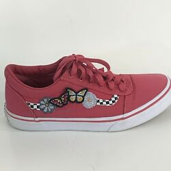 Vans Off The Wall Girls Sneakers with Embroidery Flowers Butterflies Pink Size 5 $13.75