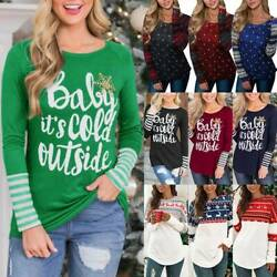 Women Novelty Christmas Xmas T shirt Tee Striped Letter Print Tops Casual Blouse $18.61