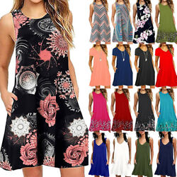 Women Boho Floral Sleeveless Mini Dress Summer Beach Holiday Tunic Tank Sundress $20.42