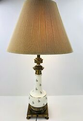 Stiffel Mid Century Modern Regency Porcelain amp; Brass Chinoiserie Lamps Shade $120.00