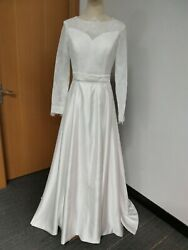 New Regular Size Custom Made White Satin Lace Long Sleeve A LineWedding Dress US $200.00