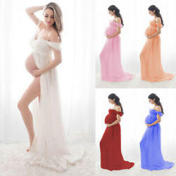 Pregnant Women Off Shoulder Long Maxi Dress Maternity Photography Props Gown US $9.99