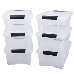 Stackable Pull Storage Plastic Bin Container w Lid Set 12 Quart 6 Box Clothing $68.07