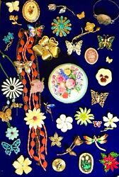 Vintage Modern Butterfly Flower Brooch Pin Necklace Lot Giovanni TC KC NR Gerry#x27; $53.00