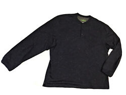 NWT Haggar Mens In Motion Blue Henley Pullover L S Fleece Sweater Shirt XXL $15.50