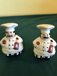 "Vintage Italian Chefs Salt and Pepper Shaker Set with Stoppers 3 1 2"" Tall $10.40"