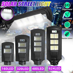 12000LM Commercial LED Solar Street Light Motion Sensor Dusk to DawnRemotePole