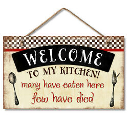 Hanging Wood Sign 9.5quot; x 5.75quot; Welcome To My Kitchen $11.99