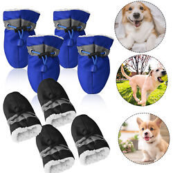 4 pcs Warm Winter Pet Dog Boots Puppy Shoes Protective Anti slip Breathable Mesh $8.95
