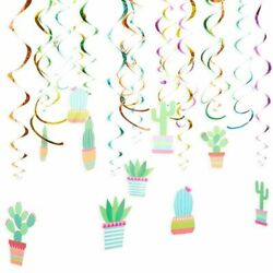 30x Fiesta Cactus Hanging Swirl Spiral Decorations for Ceiling Kids Birthday 8quot; $7.49