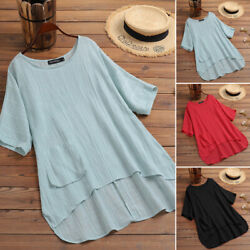Women Linen Cotton Summer T Shirt Tops CAsual Asymmetrical Tee Shirt Blouse Plus $14.95
