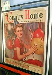 Country Home Magazine Vintage 1939 Cover Old New Year Party Balloons Ephemera $12.95