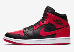 Nike Air Jordan 1 Mid Banned Black Red 554725 074 GS Youth Size 3.5Y to 7Y $160.00