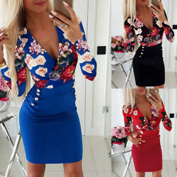Womens Floral V Neck Bodycon Mini Dress Ladies Evening Party Long Sleeve Dresses $16.10