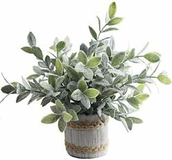 Small Potted Artificial Plants Plastic Fake Greenery Topiary Shrubs $26.32