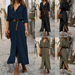 Women V Neck Button Tunic Shirt Dress Ladies Long Sleeve Casual Long Maxi Dress $9.99