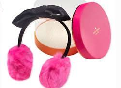 Girls Kate Spade Faux Fur Earmuffs one size bright pink and black New $28.00