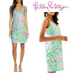 NWT Lilly Pulitzer Adrianna Dress Multi Floridita Medium Flamingo