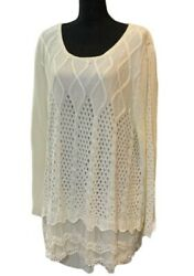 Simply Couture Womens Tunic Sweater White Long Sleeve Scoop Neck Crochet XL New $19.99